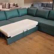 BIBLIO Caya Design Warszawa Studio komfort narożnik z funkcją spania i pojemnikiem tkanina CASSIO GLORMEB funkcja spania