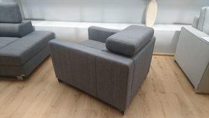 ENZO Caya Design Warszawa Studio Komfort narożnik z funkcją spania + fotel Tkanina KANKAN 754 fotel tył