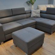 ENZO Caya Design Warszawa STUDIO KOMFORT narożnik bez dostawki z funkcją spania + puf Tkanina NOVELL 12 FARGOTEX