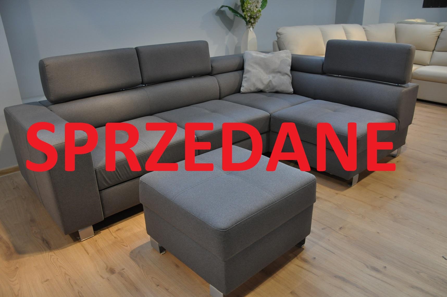ENZO Caya Design Warszawa STUDIO KOMFORT narożnik bez dostawki z funkcją spania + puf Tkanina NOVELL 12 FARGOTEX SPRZEDANE
