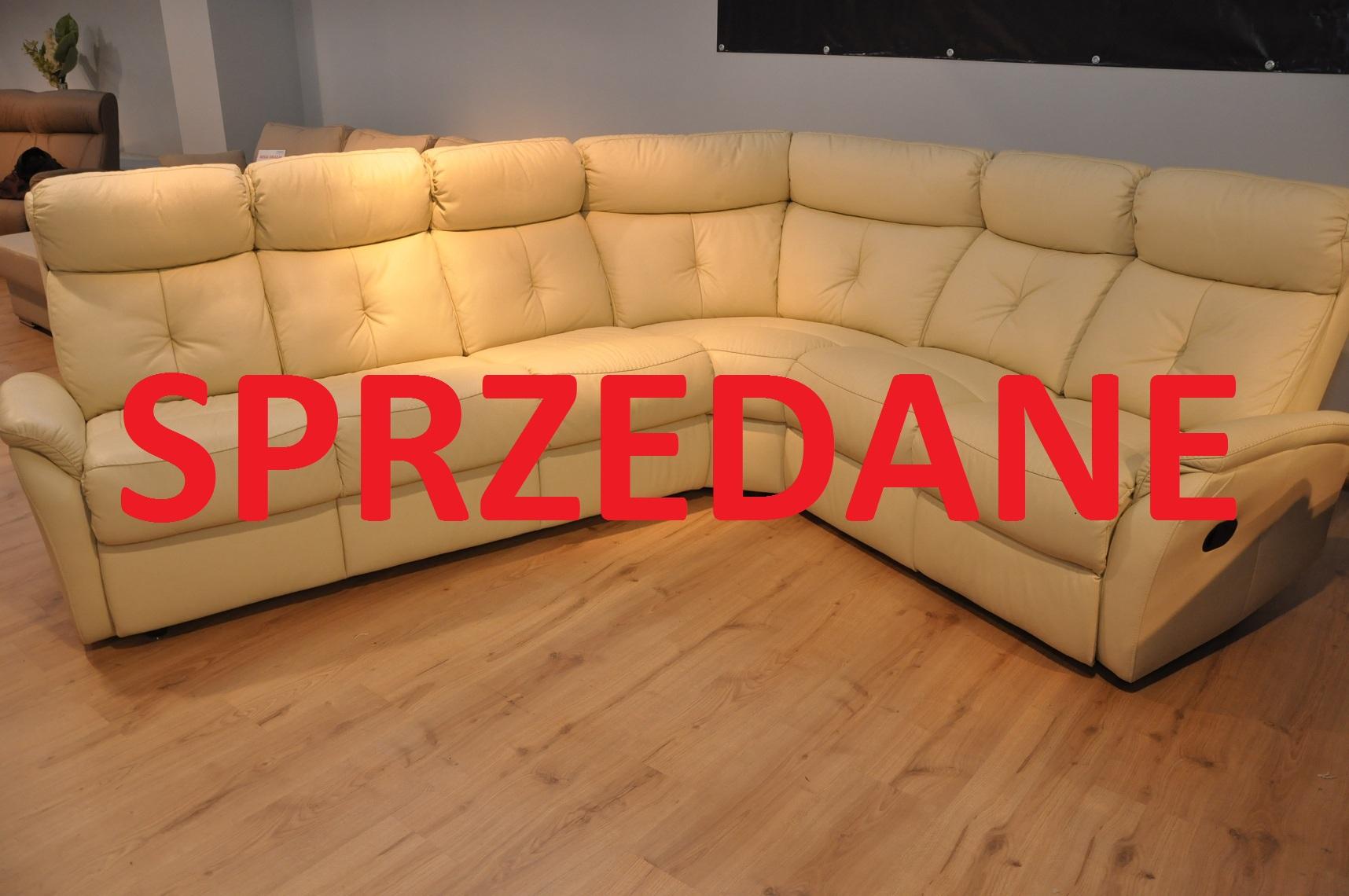LIMA Meble Bryłka Warszawa narożnik z funkcją spania i modułem relaks skóra łączona z eko skórą SPRZEDANE