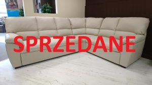 York Caya Design Warszawa Studio Komfort narożnik z funkcją spania i pojemnikiem Skóra włoska Toledo Betulla SPRZEDANE