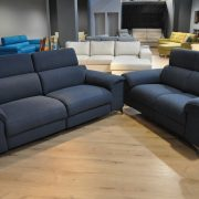 SHADOW EMMOHL Warszawa Studio Komfort Sofa 3 z funkcją relaks i sofa 2 Tkanina RIVOLI 47