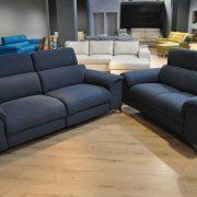 SHADOW EMMOHL Warszawa Studio Komfort Sofa 3 z funkcją relaks i sofa 2 Tkanina RIVOLI 47 zagłówki
