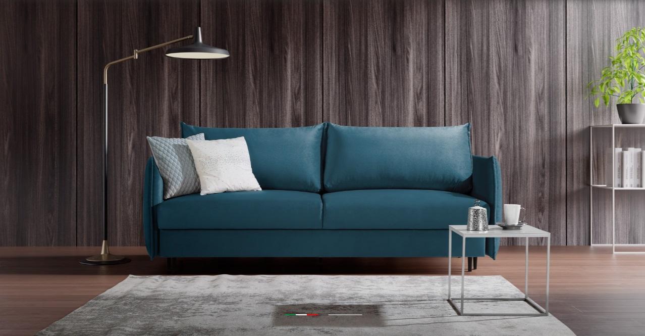 EGO Caya Design Warszawa STUDIO KOMFORT sofa z funkcją spania i pojemnikiem aranż