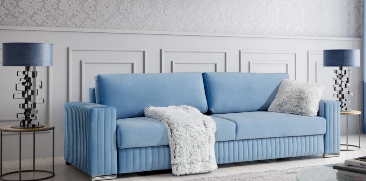 GLAMOUR 3DLCaya Design Warszawa STUDIO KOMFORT sofa z funkcją spania i pojemnikiem rozkładana jasna niebieska aranż