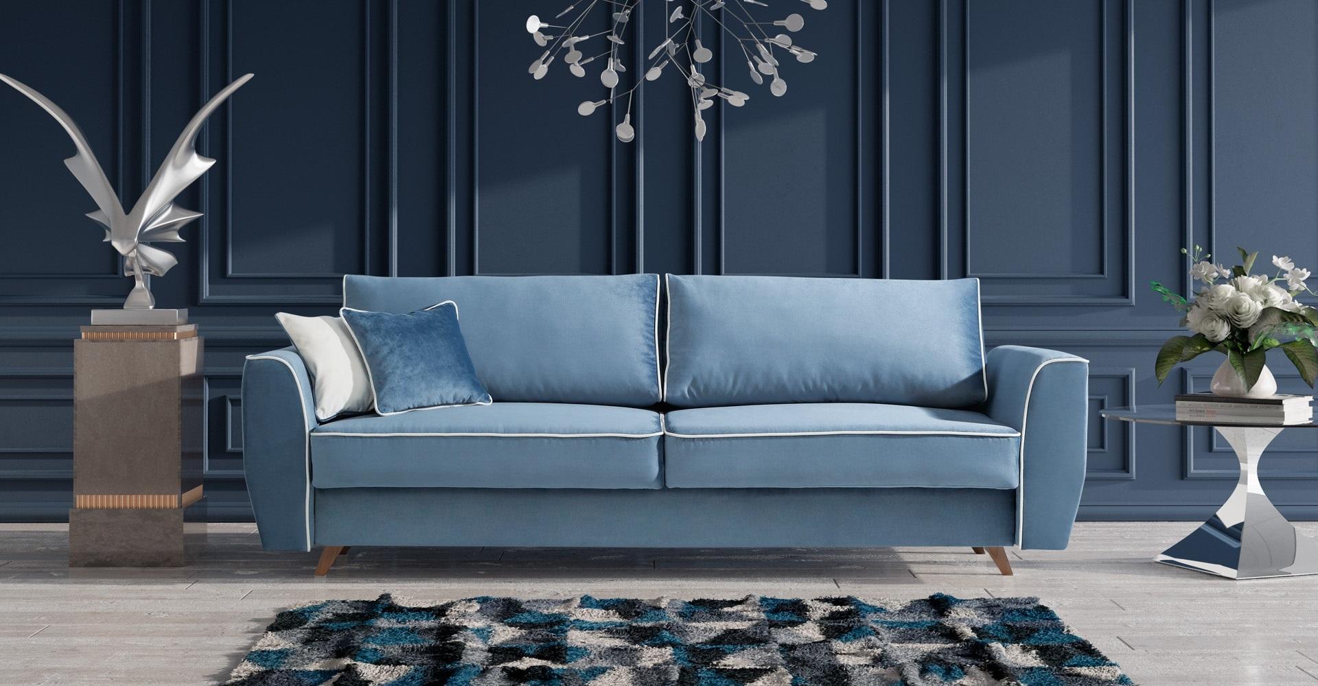 HUGO Caya Design Warszawa STUDIO KOMFORT sofa rozkładana z funkcją spania i pojemnikiem aranż