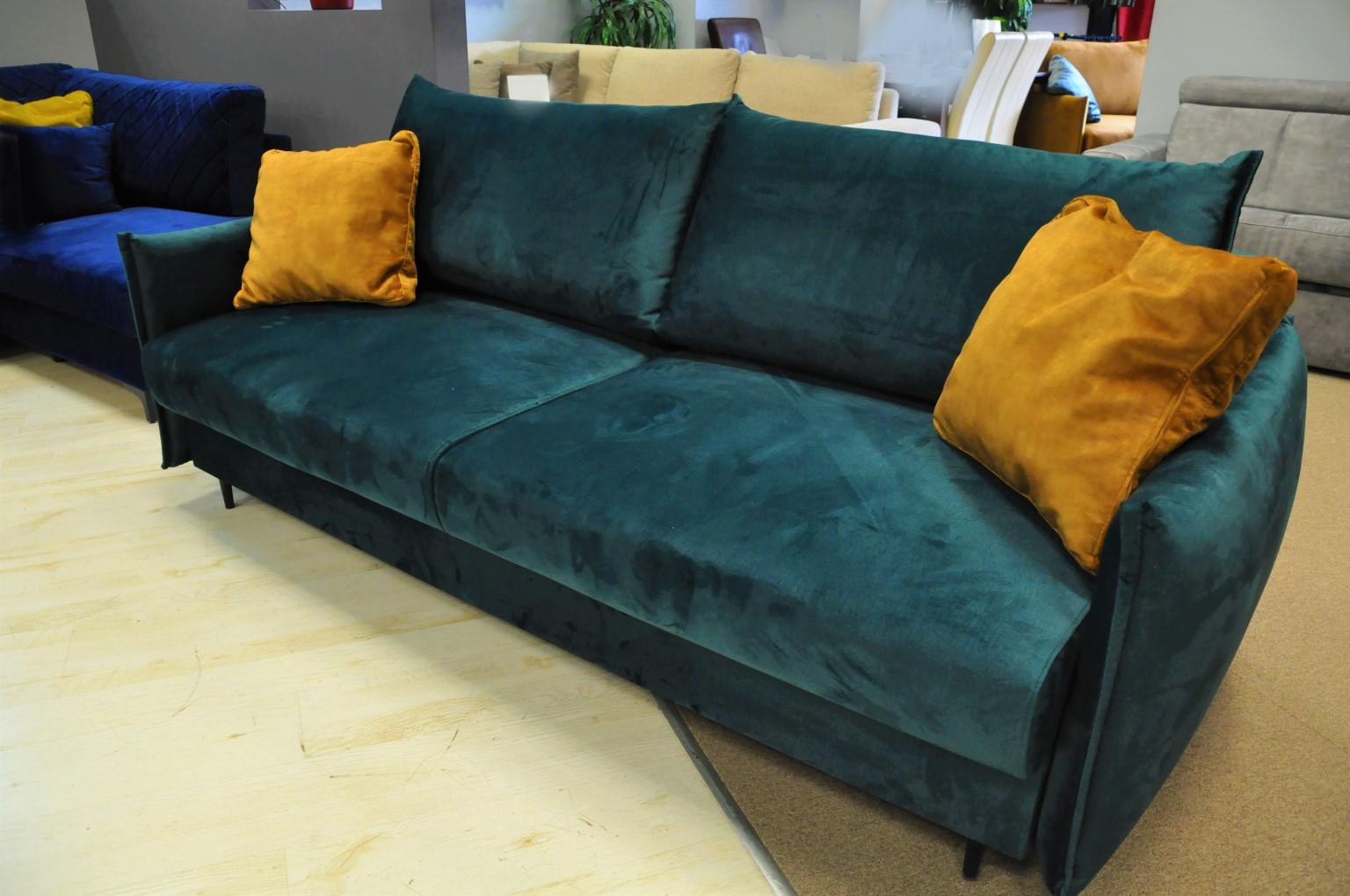 EGO sofa rozkładana Warszawa sofa z funkcją spania i pojemnikiem tkanina hydrofobowa MONOLITH 37 zieleń butelkowa